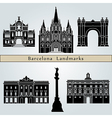 Barcelona landmarks and monuments vector image vector image