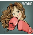 beautiful woman during fitness time and boxing vector image