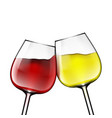 big reds wine glass of red and white wine vector image