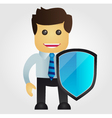 Business man with protection shield vector image