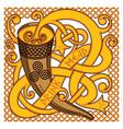 celtic scandinavian design drinking horn