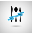 Cutlery with ribbon vector image vector image