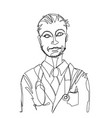 doctor drawn by a single line vector image