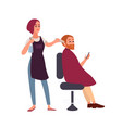 female hairdresser styling hair of her smiling vector image