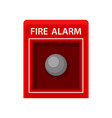 fire alarm red metal box with button warning vector image
