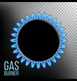 gas burner burner ring with blue flame vector image
