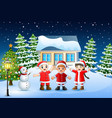 group of kids in red santa costume joyful and laug vector image vector image