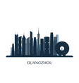 guangzhou skyline monochrome silhouette vector image vector image