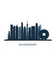guangzhou skyline monochrome silhouette vector image
