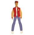 guy in baseball player jacket 1980s fashion vector image vector image