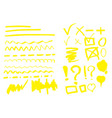 hand drawn highlighter set vector image