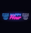 happy hour neon text happy hour neon sign vector image vector image