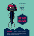 hip-hop party poster with microphone rap festival vector image vector image