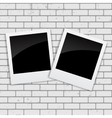 Instant Photos on Grunge Brick Background vector image