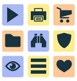 interface icons set with play protect find and vector image