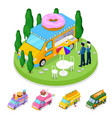 isometric street food donuts truck with people vector image vector image