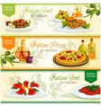 Italian cuisine dishes banner set for food design vector image vector image
