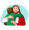 jesus hugging child cartoon christian isolated vector image vector image