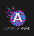 letter a logo with blue purple pink particles vector image vector image