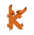 letter k is dog pet font dachshund alphabet vector image vector image