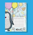 march calendar information with penguin and vector image vector image