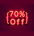 neon frame 70 off text banner night sign board vector image vector image