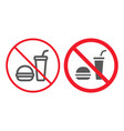 no food line and glyph icon prohibition vector image vector image