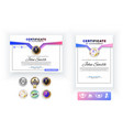 official white certificate with pink blue design vector image vector image