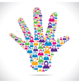 open hand with group of people stock vector image vector image
