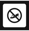 Prohibition sign grasshoppers icon simple style vector image vector image