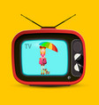 red retro tv woman with parasol on screen vintage vector image