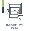 registration form icon with outline style and vector image vector image