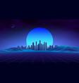 retro landscape blue background 3d vector image vector image