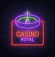 roulette game neon sign neon sign casino logo vector image vector image