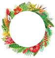 round frame from tropical plants vector image vector image