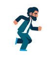 running business man character in suit vector image vector image