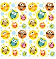 Seamless pattern with colorful owls vector image vector image