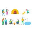 summer camping equipment and tourists outdoors vector image