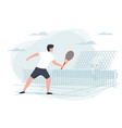 tennis game man with racket vector image vector image