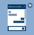 the live chat window for web pages in internet vector image vector image