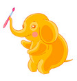 thick cute orange elephant holds the brush in the vector image