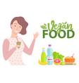 vegan food lady drinking organic tea meal set vector image vector image