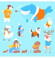 Arctic Animals Dressed In Human Clothes Set Of vector image