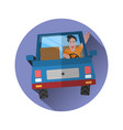 background cheerful man driving a car in a flat vector image vector image