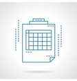Blue flat line spreadsheet icon vector image