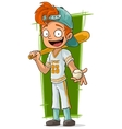 Cartoon young baseball player with bat vector image vector image