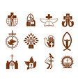christian religion jesus cross bible dove icons vector image vector image