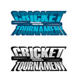 cricket tournament set vector image vector image