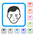 crying man face framed sad icon vector image