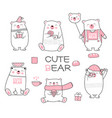 cute babear cartoon hand drawn style vector image